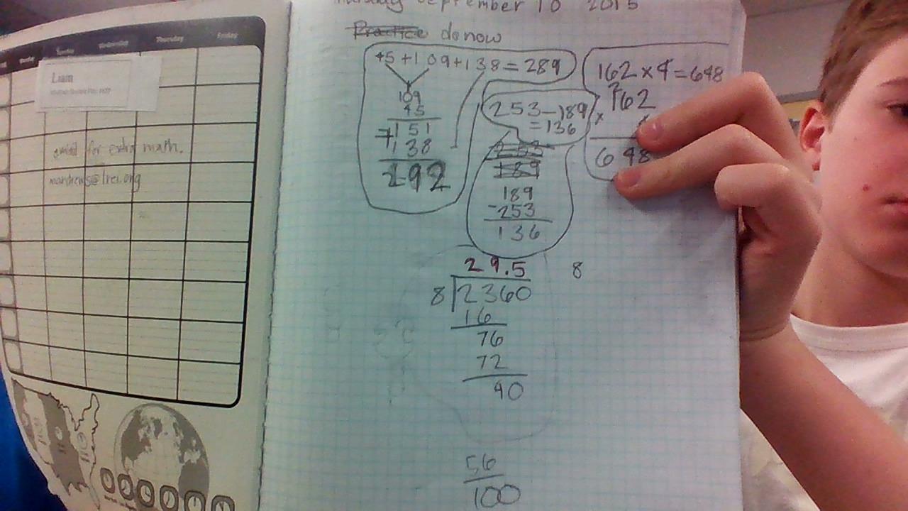 Liam\'s 6th grade Math workbook |