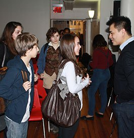 Students ask Jose Vargas questions about Define American, his campaign on what it means to be an American.