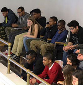 Students participate in a conversation about race for Martin Luther King, Jr. Day.