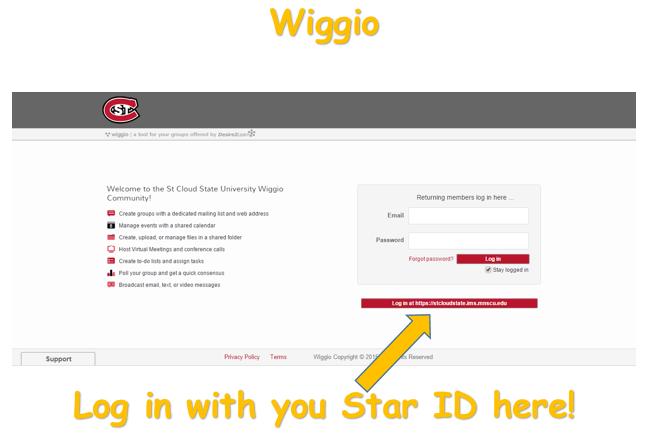 Wiggio-log-in