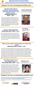 Special Interest Group Learning Spaces and Instructional Technology webinars March April
