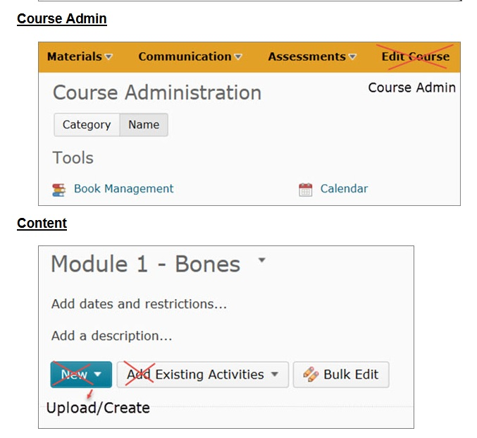 D2L Terminology Changes Course Admin and Content