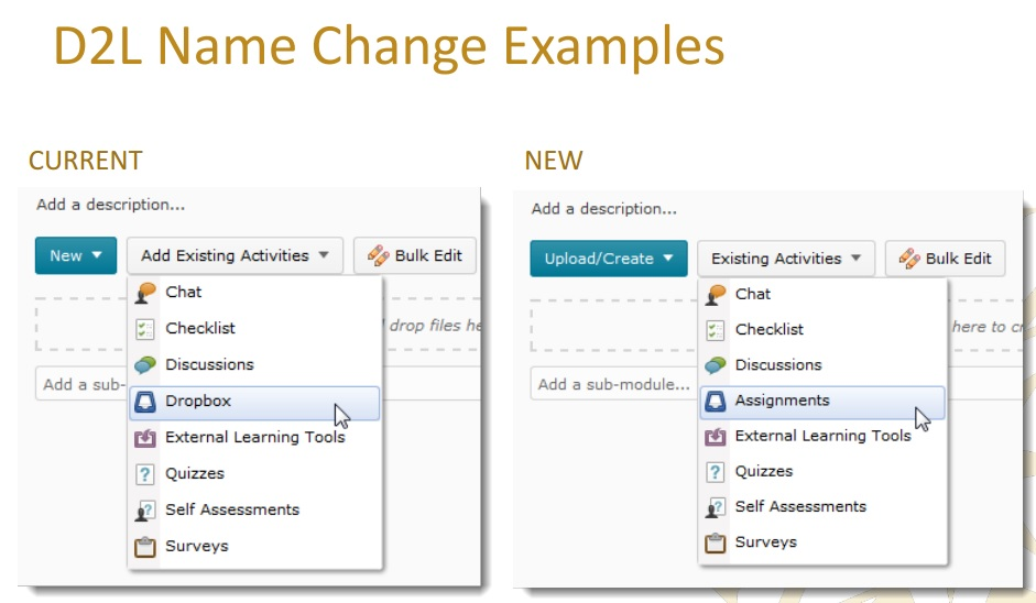 D2L Terminology Changes Assignments