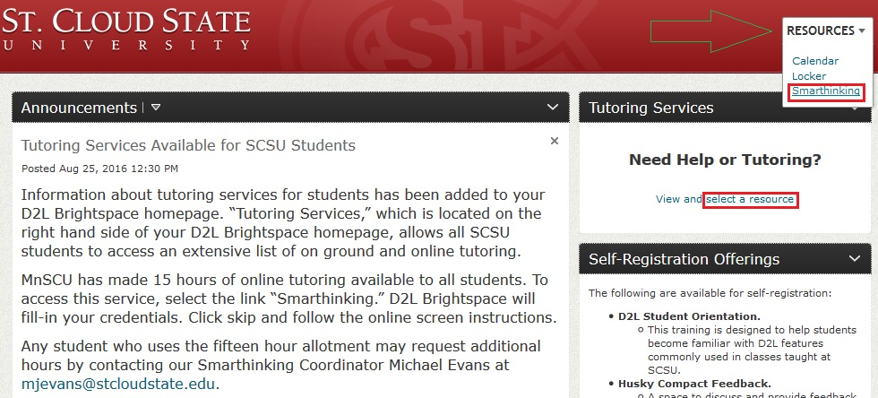 Smarthinking on D2L
