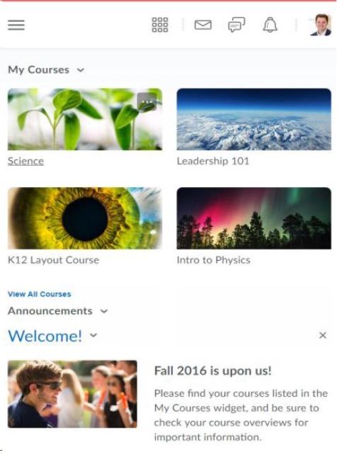 courses as tiles not text in D2L