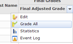 final grades: drop down menu