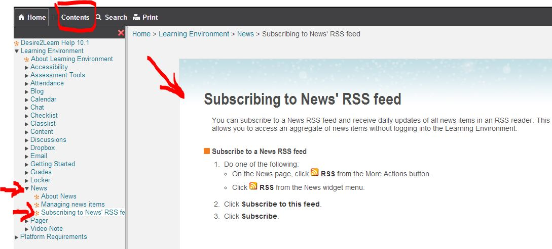 how to rss d2l news