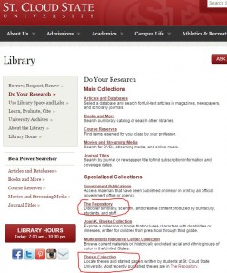 SCSU library web page snapshot with link to repository