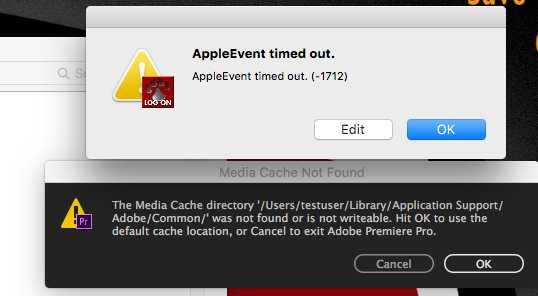 error message Premiere CC