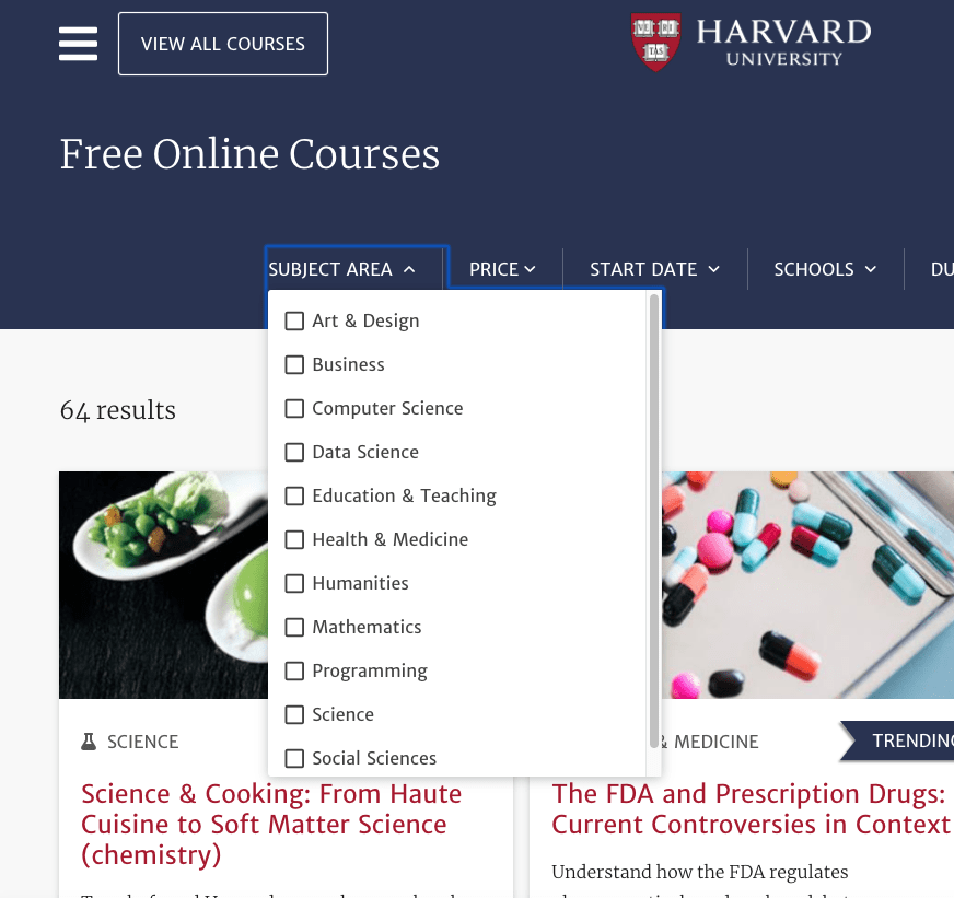 Harvard Free Classes