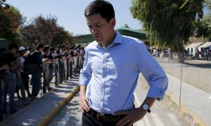 International Rescue Committee head David Miliband at a refugee camp for Syrians on the Greek island of Lesbos. Photograph: Alkis Konstantinidis/Reuters