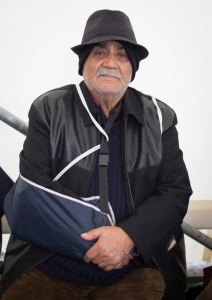 GEVGELIJA, MACEDONIA - OCTOBER 23:  A elderly Syrian man holds his arm broken on the voyage from Syria at a refugee reception centre on October 23, 2015 in Gevgelija, Macedonia. Despite the worsening weather, thousands of migrants have continued to arrive daily in Former Republic Of Macedonia and the small border town of Gevgelija, as they continue their journey on towards western Europe.  (Photo by Matt Cardy/Getty Images)