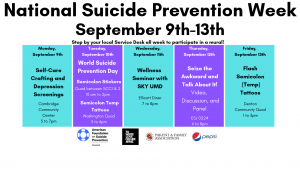 national suicide prevention week calendar of events
