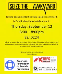 seize the awkward suicide prevention 9/12, 6-8pm, ESJ 0224