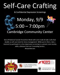 Self-care crafting and depression screenings 9/9, 5-7pm, Cambridge Community Center