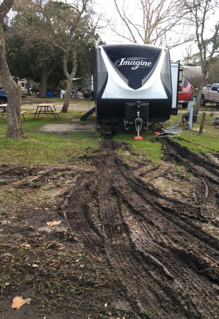 Trailer in mud