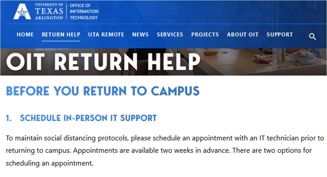Screenshot OIT Return to Campus - https://oit.uta.edu/returnhelp