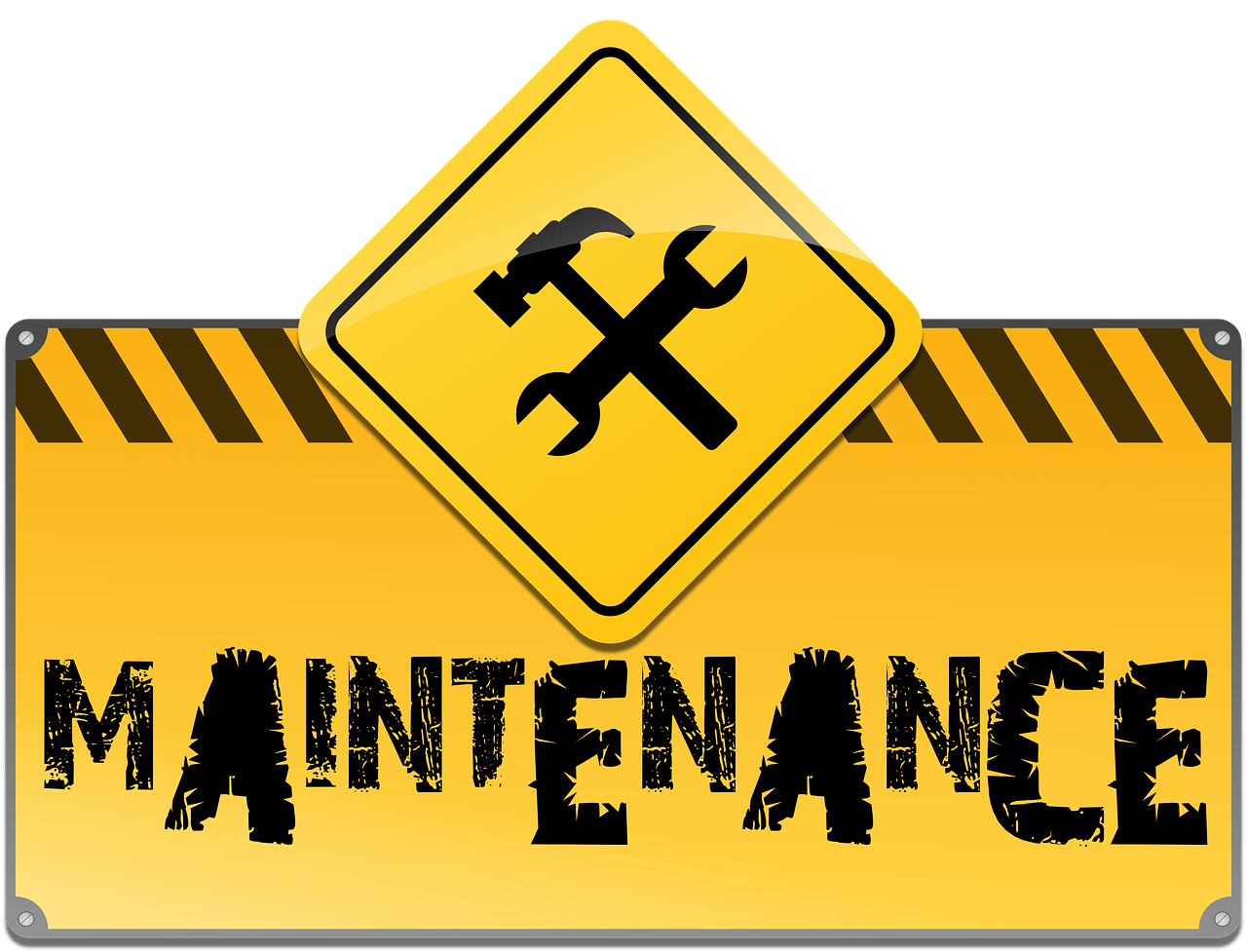 yellow maintenance sign