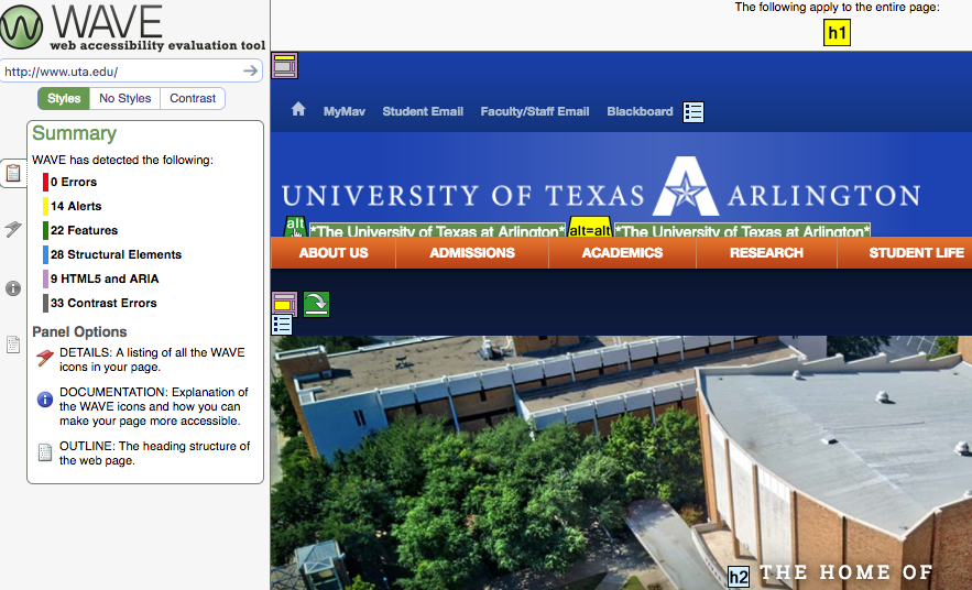 Tools for Evaluating Accessibility – UTA Accessibility