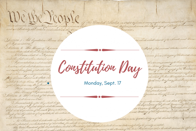 Graphic promoting 2018 constitution day on background of U.S. Constitution