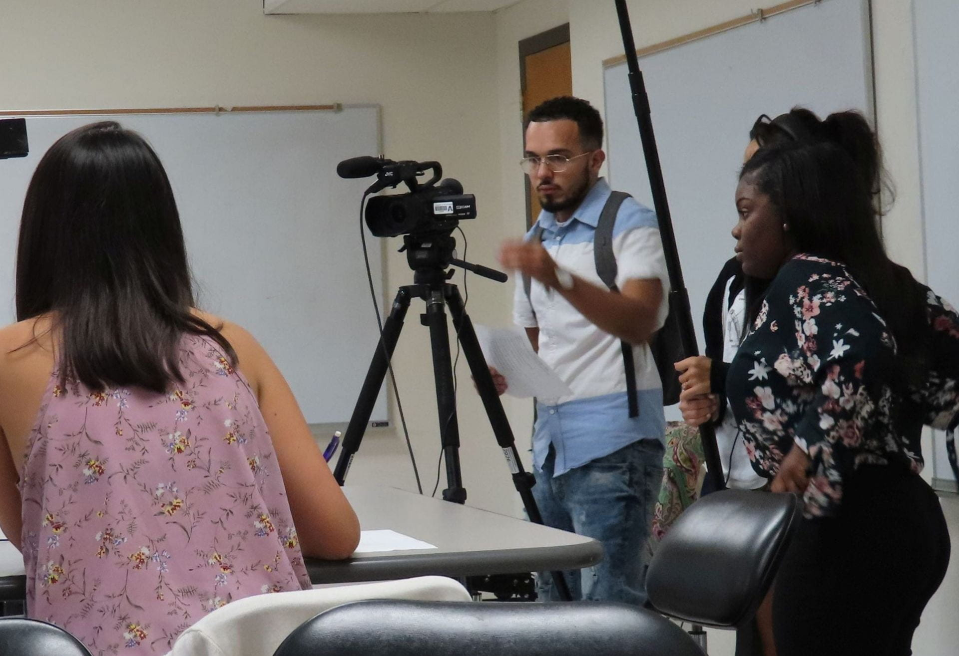 Students working on a filming project