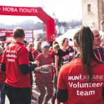 Students volunteering for a running event