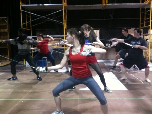 Students in the Stage Combat class, spring of 2014