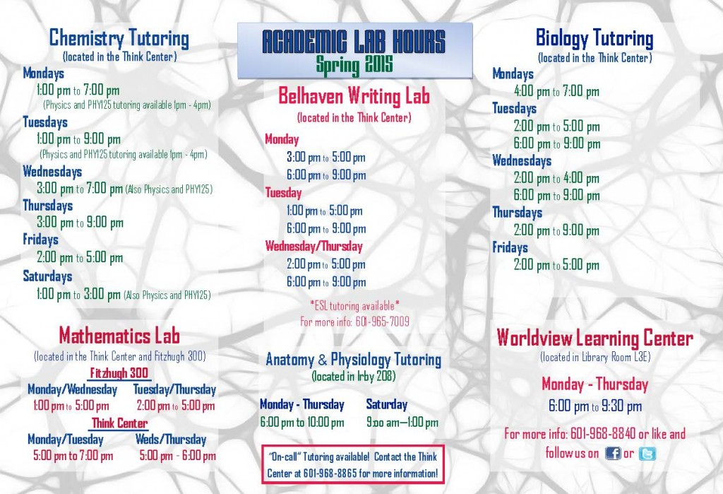 Academic Lab Hours Spring 15