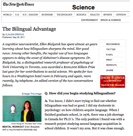 Bilingualism Delays onset of Alzheimer's Symptoms-NYT-5.31.11