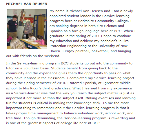"This is what Michael ""Jota Jota"" Van Deusen wrote about his Service Learning experience on BCC's Service Learning Blog."
