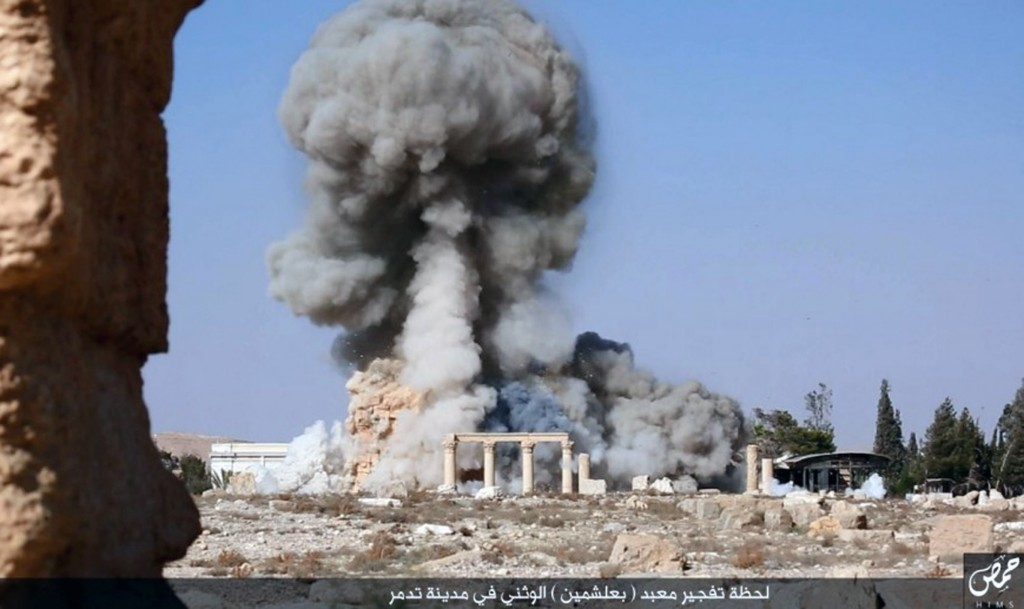 The Islamic State released this photo of a detonation in the Temple of Baalshamin in Palmyra. Militant website, via The New York Times.