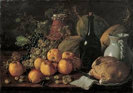 Luis Meléndez (1716–1780), Still Life with Apples, Grapes, Melons, Bread, Jug and Bottle