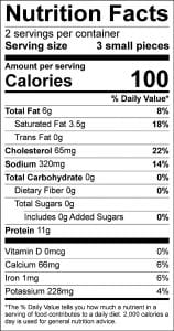 nutrition label for walleye cheeks