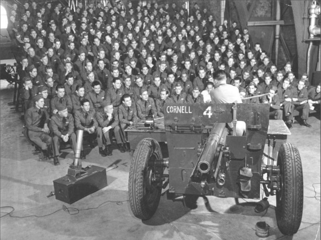 ROTC Students learn about gunnery during WWII