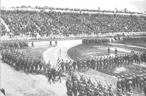 The Corps of Cadets conducts mandatory drilling session on Schoelkopf field in 1917.