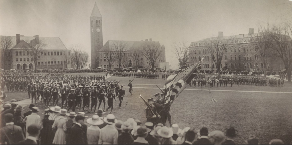 The Corps of Cadets processes around the arts quad.