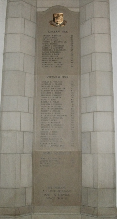 The War Memorial in Annabel Taylor hall was rededicated in 1993 to include the names of Cornellians lost in service to the nation since WWII.
