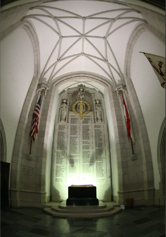 The WWII Memorial in Annabel Taylor Hall lists the names of all Cornellians who perished during the four years of struggle.