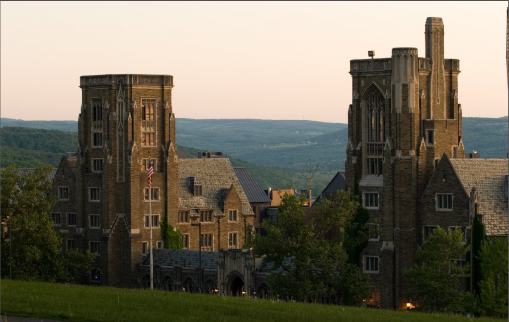 The WWI Memorial Stands on West Campus, overlooking Ithaca. In the connecting Cloister, it names each Cornellian that lost his or her life during the war.