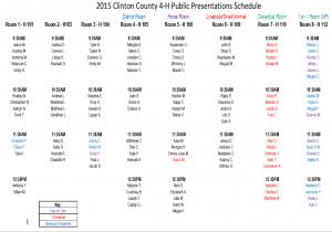 2015 Public Presentations Schedule