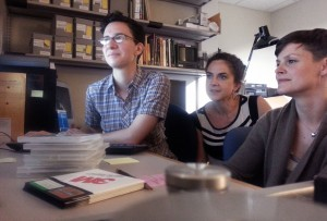 Project team at work, from left to right, Dianne Dietrich, Mickey Casad, and Desiree Alexander