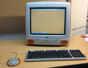 Many of the artworks in our test collection were created for computer operating systems that are now obsolete.  This vintage iMac is an important component of the project's digital workstation.