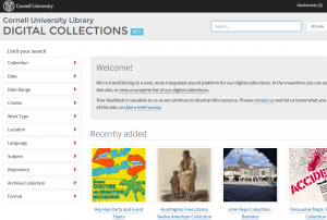 Cornell Digital Collections Portal homepage