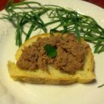duck rillette on baguette