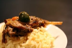 duck leg with olive on rice