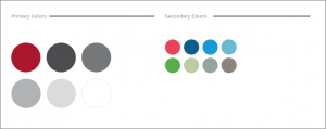 Primary and secondary color palettes with hues of red, blue, grey and green