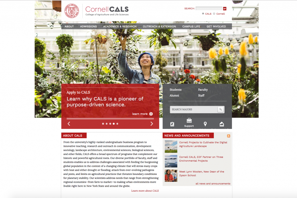A snapshot of the new Cornell CALS Homepage, with the new logo, colors and fonts installed.