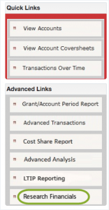Research Financials menu circled at bottom.