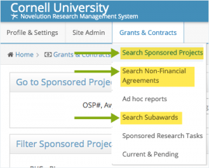 Three search options highlighted in Grants & Contracts menu.