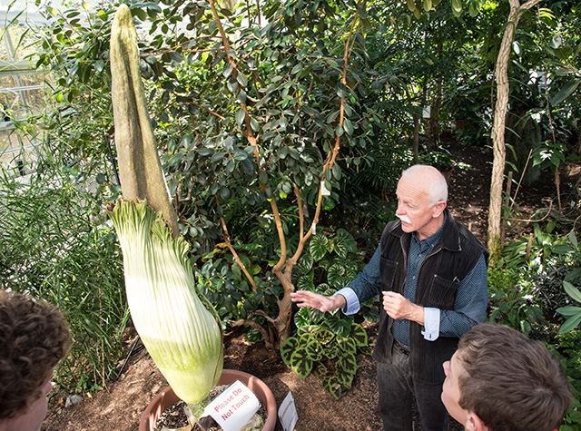 Karl Niklas, professor in the Plant Biology Section, talks Titan arums earlier this afternoon.